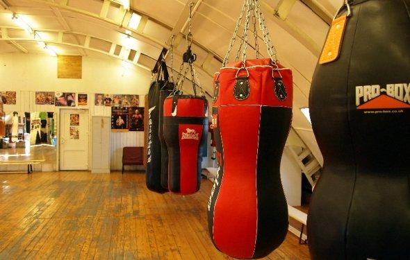 Боксёрские мешки в школе бокса